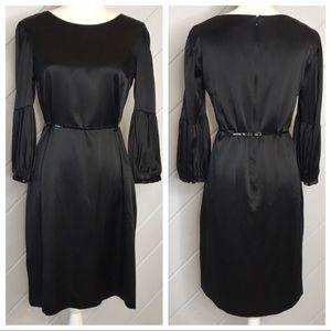 {Hugo Boss} Delima Silk Blend Mutton Sleeve Dress